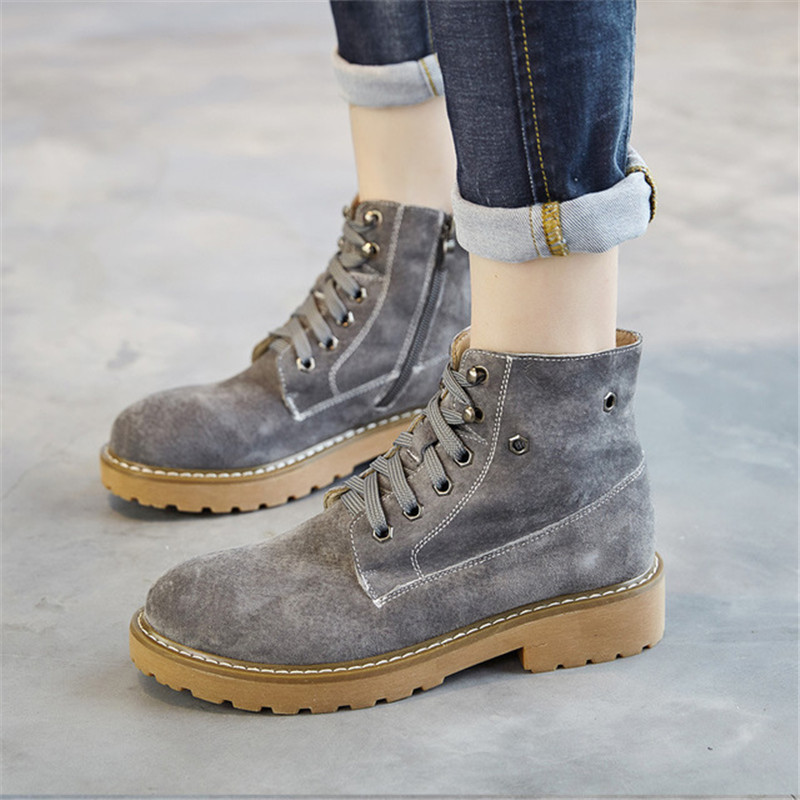 Genuine Leather Women Boots Ankle Boots For Women 2018 New Fashion Autumn Winter Woman Shoes With Platform Lace Up Free Shipping 2017 new autumn winter shoes for women ankle boots genuine leather boots women martin boots lace up platform combat boots botas
