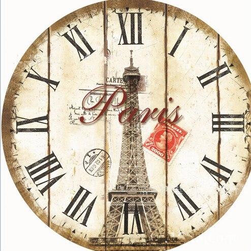 2016 Fashion European Style Paris Tower Wall Clock Modern Design Wooden Hanging Vintage Silent Wall Decor Big Watch Designer Wall Clock Fashion Wall Clockswall Clock Aliexpress
