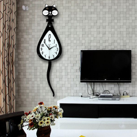 Wag tail cat   clock   wall   clock   the sitting room is contemporary contracted creative European mute swing supe bedroom quartz   clock