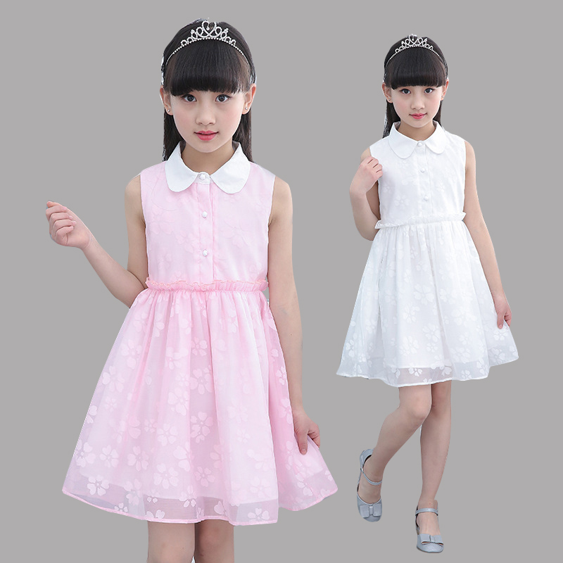 Dresses For Girls Summer Print Voile Sundress Children Sleeveless Clothes Vestidos Infant 4 6 8 9