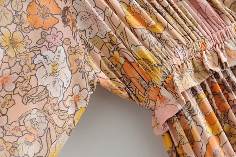 V-Neck Sasches Ruffles Floral Print Boho Dress 10