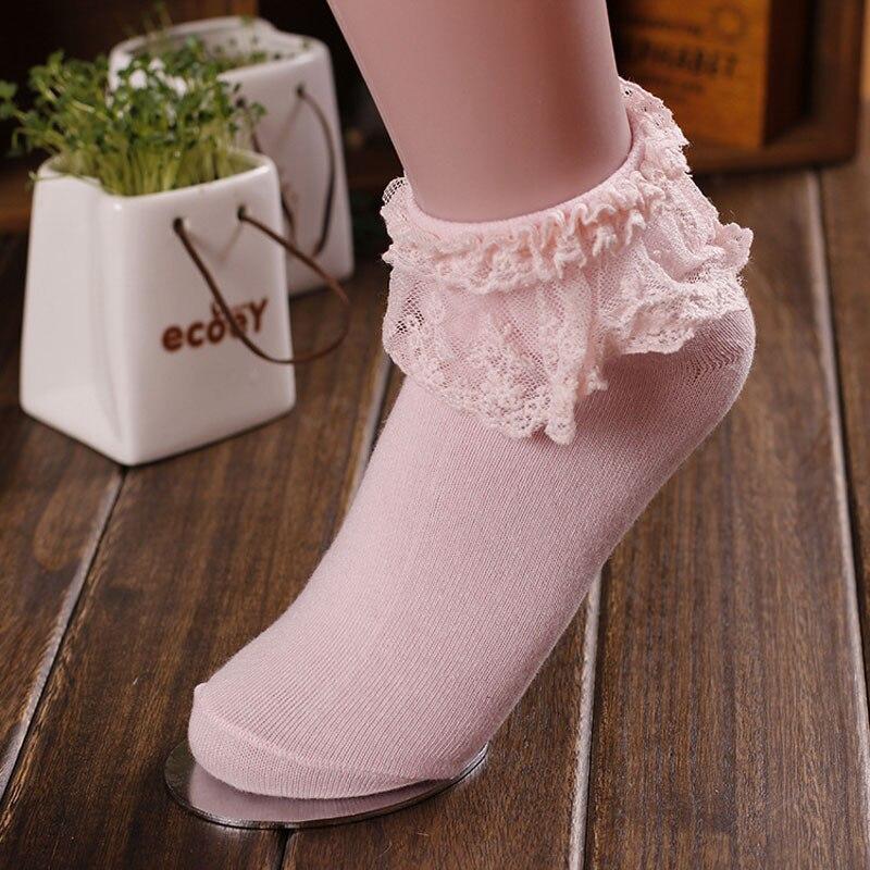 HTB1VbY7B5CYBuNkSnaVq6AMsVXag - Retro Pink Lace Ankle Ruffle Socks Women Ladies Girl Fashion Vintage