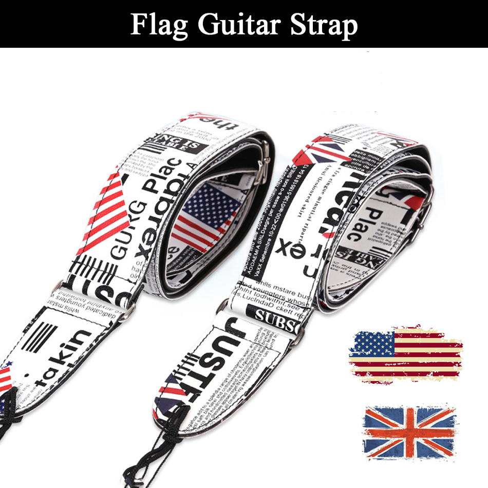 Flag of the United Kingdom United States Durable Bass Electric Acoustic Guitar Strap Belt, цена и фото