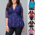 2016 Блузка Женщины Леди Одежда Большой Плюс Размер Сексуальные Кружева цветочные Рубашки Повседневная Hollow V-образным Вырезом Три Четверти Блузка Топы Нового женщины