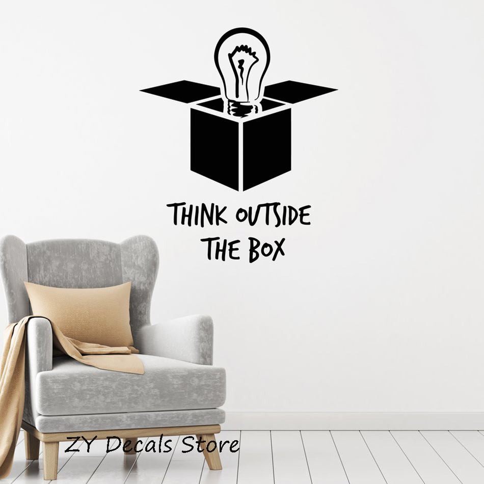 Inspirational Motivational Office decoration Decals Think Outside The Box Quotes Wall Decal Art Home Wall Decor Stickers S640
