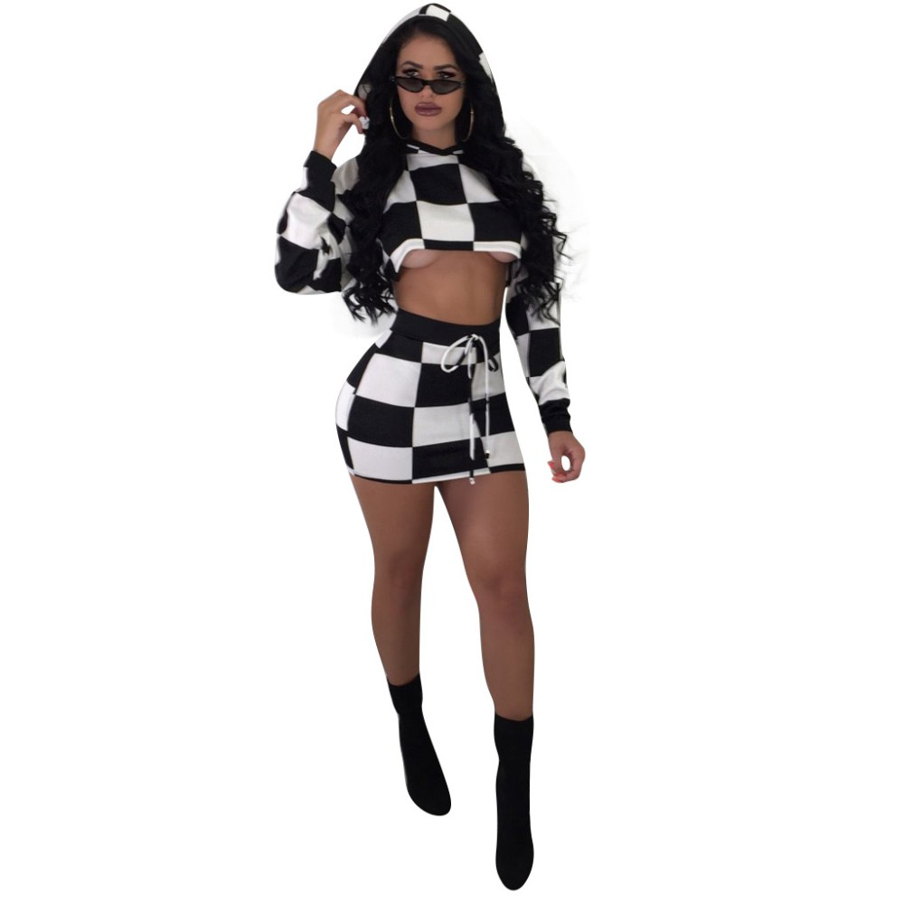 HAOOHU Checkerboard Plaid Sexy 2 Piece Set Women Clothes Crop Top+Bodycon Mini Skirt Suit Autumn Outfit Two Piece Matching Sets