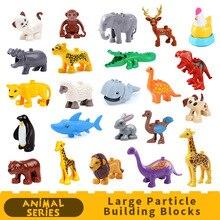 Zoo Animals Model DIY Big Particles Bricks accessory Toys Cute animal Elephant giraffe tiger Compatible DUPLOES