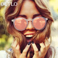 OLTLO Pink Clear Frame Round Sunglasses Women 2017 New Luxury Brand Designer Mirror Sun Glasses Fashion Shades Retro Oculo UV400