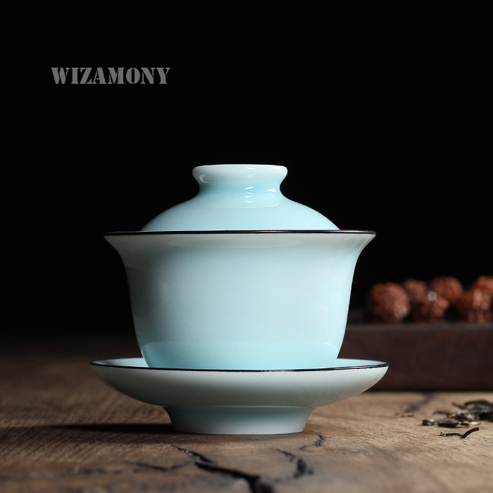 Chinese Longquan Celadon Gaiwan China Teacups and SaucerTea Bowl 130ml By National Level Master Serve Tea