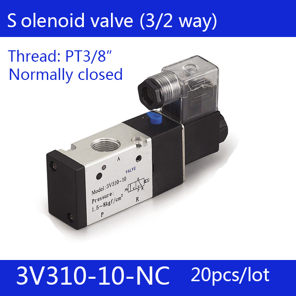 20PCS Free shipping Pneumatic valve solenoid valve 3V310-10-NC Normally closed DC12V 24V AC220V,3/8 , 3 port 2 position 3/2 way free shipping dn25 pneumatic angle valve mounted with proximity switch and solenoid valve g1