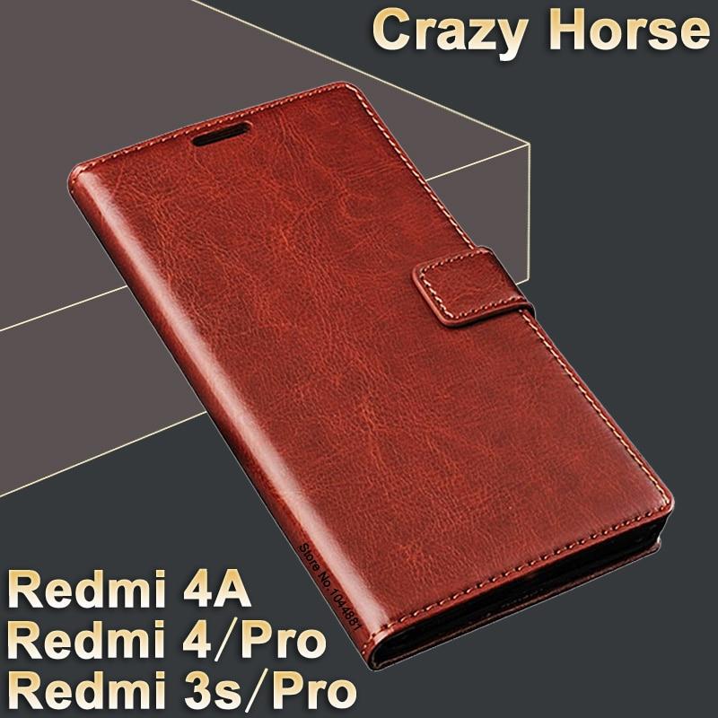 Xiaomi Redmi 3s ön dəri Xiaomi Redmi 4 üçün lüks flip dəri qutusu / pro əsas örtük Crazy at Xiaomi Redmi 4A 4 A