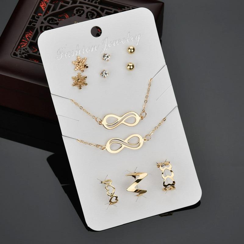 Punk Style Women Gold Color Jewelry Sets Chain Choker Necklace Crystal Stud Earrings Infinity Bracelet Anel Rings Set Jewellery