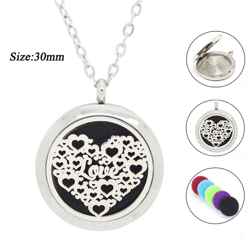 New arrival! 30mm floating perfume locket for lovers 316l stainless steel magnetic essential oil diffuser locket necklace