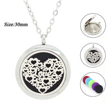 30MM Magnetic Essential Oil Diffuser necklace for Women 316L Stainless Steel Aromatherapy Pendant Necklace Love free