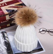 Милый младенческой зимняя шапка меховая шапка помпонами дети девочка мальчик зима вязаный шерстяной Шапки для девочек шляпа подшивать Шляпы размер 42-52 см