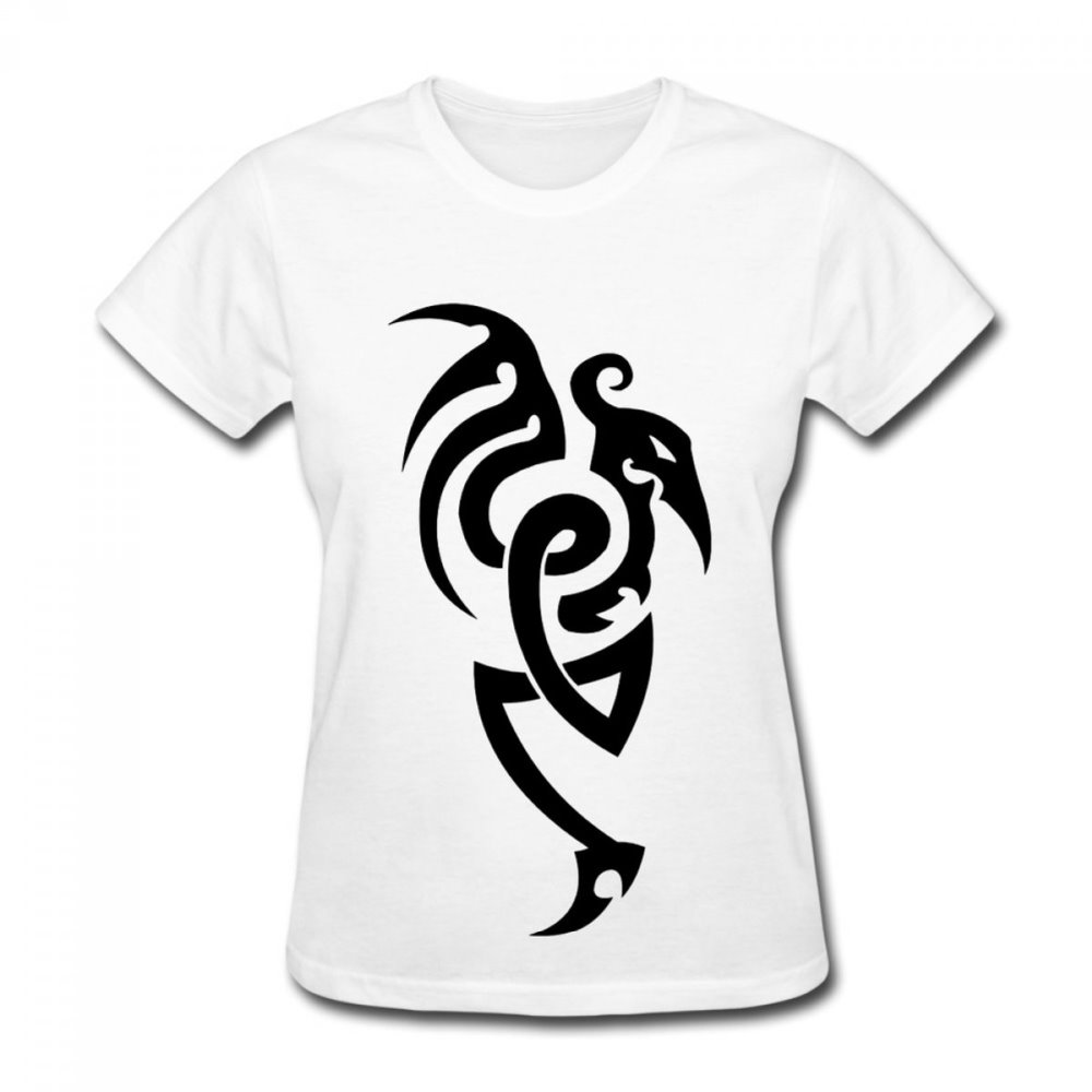 Tribal design t shirt - Tribal Dragon Design Cotton Casual Shirt Top Tee Big Size Summer T Shirt Women
