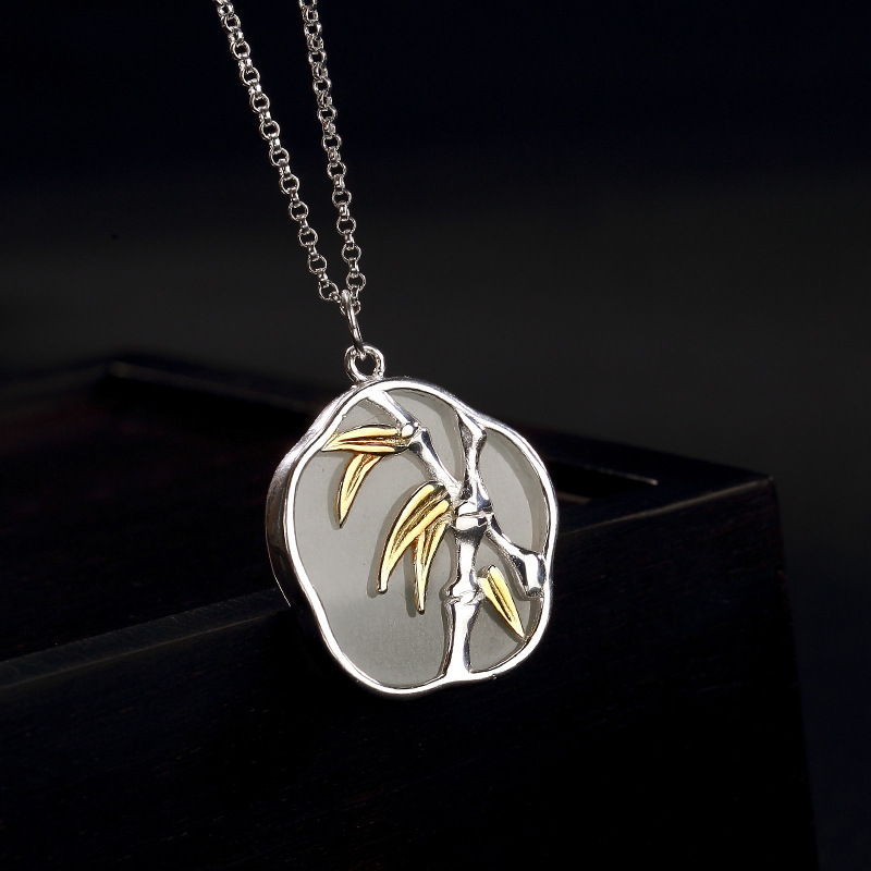 LouLeur 925 sterling silver jade necklace gold bamboo natur hetian jade pendants necklace for women temperament charms jewelry