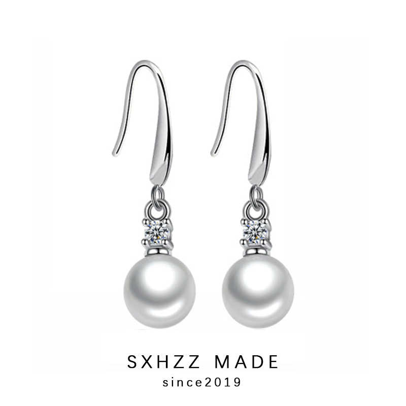 SXHZZ Stud Earrings Stimulated-Pearl Tassel Earrings Simple Silver Round Pearl Gift for Women High Quality Accessory Jewelry