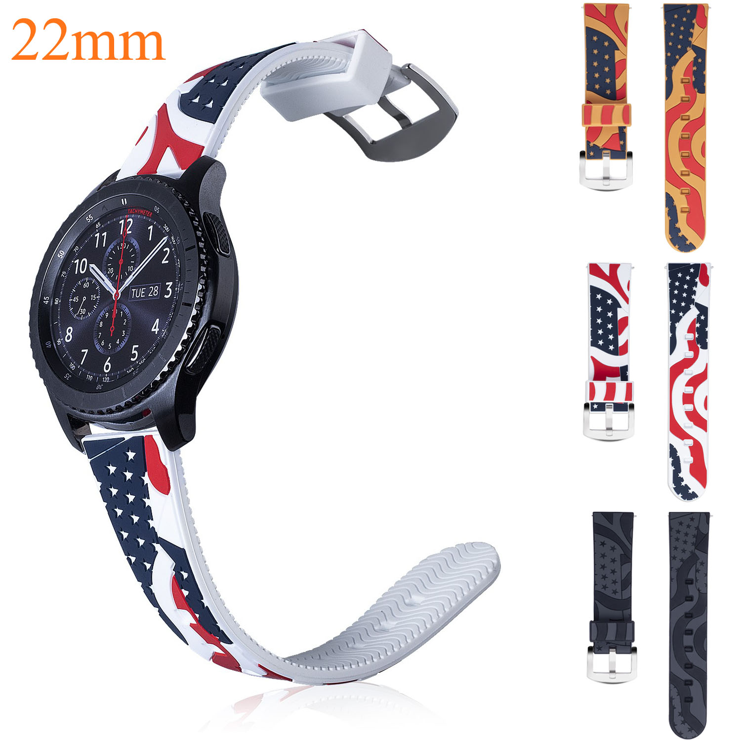 22mm American Flag USA Flag Silicone Strap for Samsung Gear S3 Band for Xiaomi Huami Amazfit Pace Stratos 2 Amazfit 2 Strap usa flag print crop tee