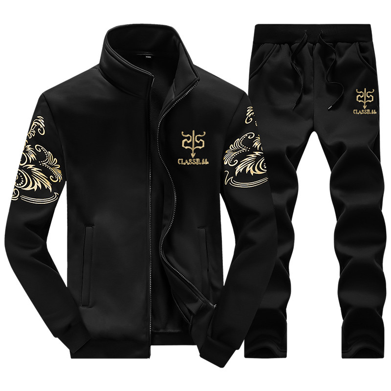 New Fahion Men Sportswear Set Spring Autumn Suits Clothes Tracksuits Male Sweatshirts Coats+Pants Track Suits Size M-4XL