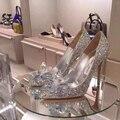 2017 Золушка Хрустальная туфелька с деньгами отметил туфли на высоком каблуке кожа штраф с горный хрусталь блестки стекло невесты свадебные туфли
