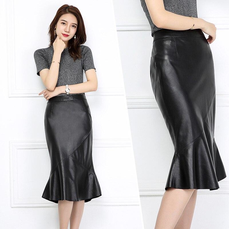 Jupe en cuir automne et d'hiver nouveau volants en cuir longue jupe noir hanche jupe taille haute jupe femme fishtail