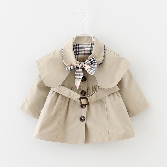 2019 new spring/autumn baby girl coat for1-3years newborn single-breasted windproof coat cute bow lapel shirt long cape jacket