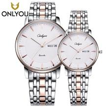 ONLYOU Man Watch Fashion Business Laisure Women Rosegold Watches Lovers Top Brand Luxury Waterproof Wristwatch Quartz Male Clock