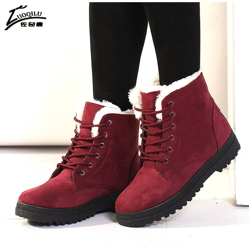 Botas Mujer Women Boots Suede Snow Winter Boots Women Warm Ankle Boots Winter Shoes Warm Fur Plush bota feminina