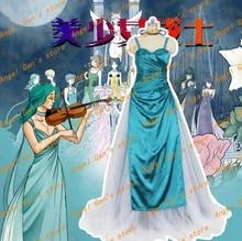 Бесплатная доставка На Заказ высокого qualtity Серенити сейлор мун Кайо Мичиру зеленый платье принцессы косплей костюм