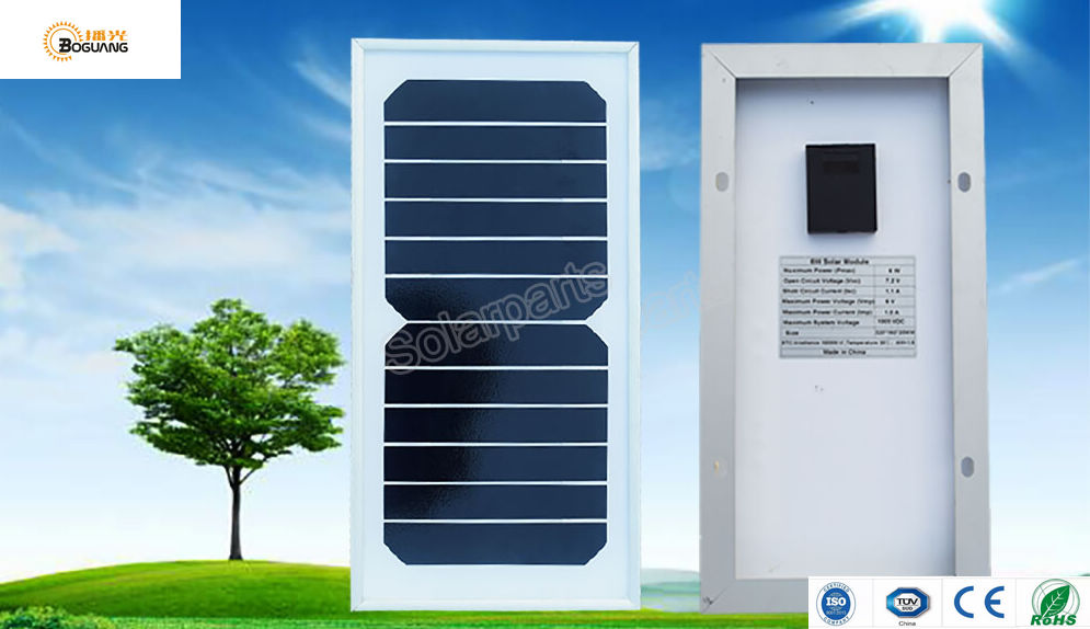 BOGUANG 2pcs 6W 6V solar panel tempered glass monocrystalline silicon cell module for solar power system experiment outdoor