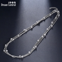 DreamCarnival 1989 Brand Silver 925 Small Pendant 120cm Long Chain Necklaces for Women White CZ Fashion Jewelry Gifts SN04484R