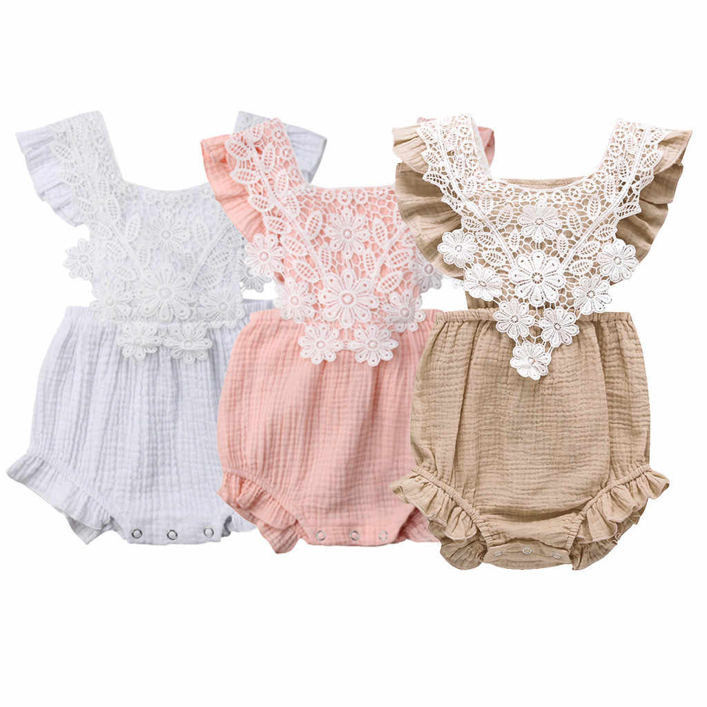Lovely Newborn Toddler Infant Baby Girl 3 Colors Lace Floral Romper Sleeveless Backless Jumpsuit Outfits Set+headband Sunsuit