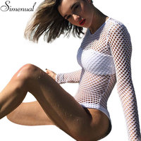 Mesh White Bodysuits Female Body With Long Sleeves Hollow Out Hole Fitness Sexy Hot Slim Bodysuit