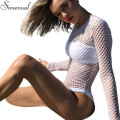 Mesh white bodysuits female body with long sleeves hollow out hole fitness sexy hot slim bodysuit women clothes 2017 spring sale