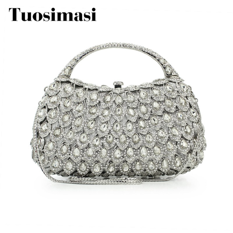 sliver crystal purse with chain  flower  hard clutch evening bag clutch bag (8760A-S) with logo sliver
