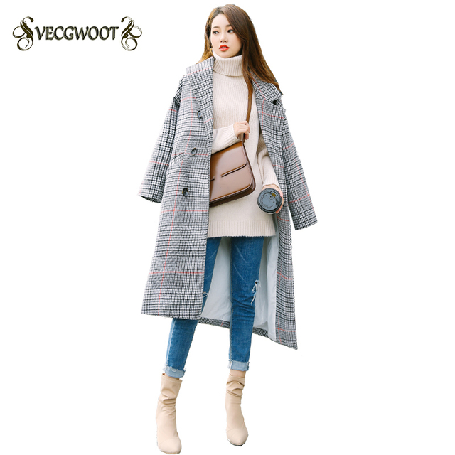 77a4b87176a 2018 Winter Women Coat New Fashion Korean style Long Lattice Slim Long-sleeved  Double-