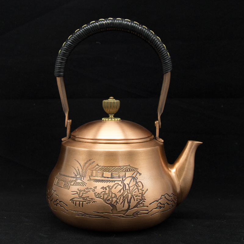 1 2 handmade red copper teapot glass samovar ceramic enameled from clay enameled kettle metal puer
