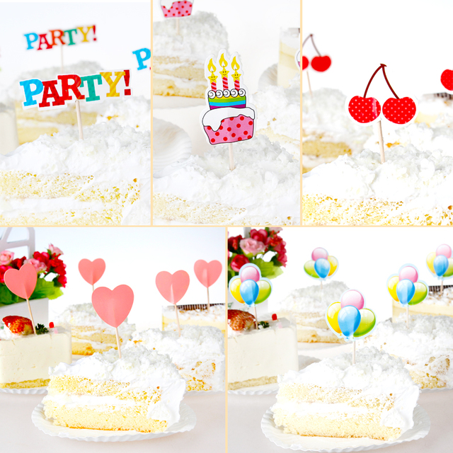 Free Shipping 100 Pcs Birthday Cake Decorations Wedding Party Creative Accessories Baking Pastry Card Supplies