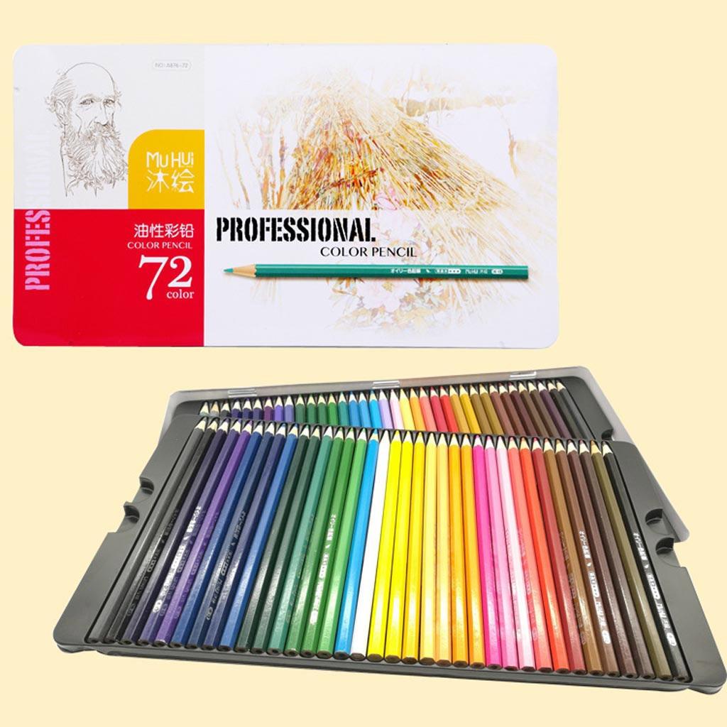 72 couleur Fine Art dessin Non-toxique Base crayons ensemble fer boîte artiste croquis couleur crayons bois naturel artiste peinture