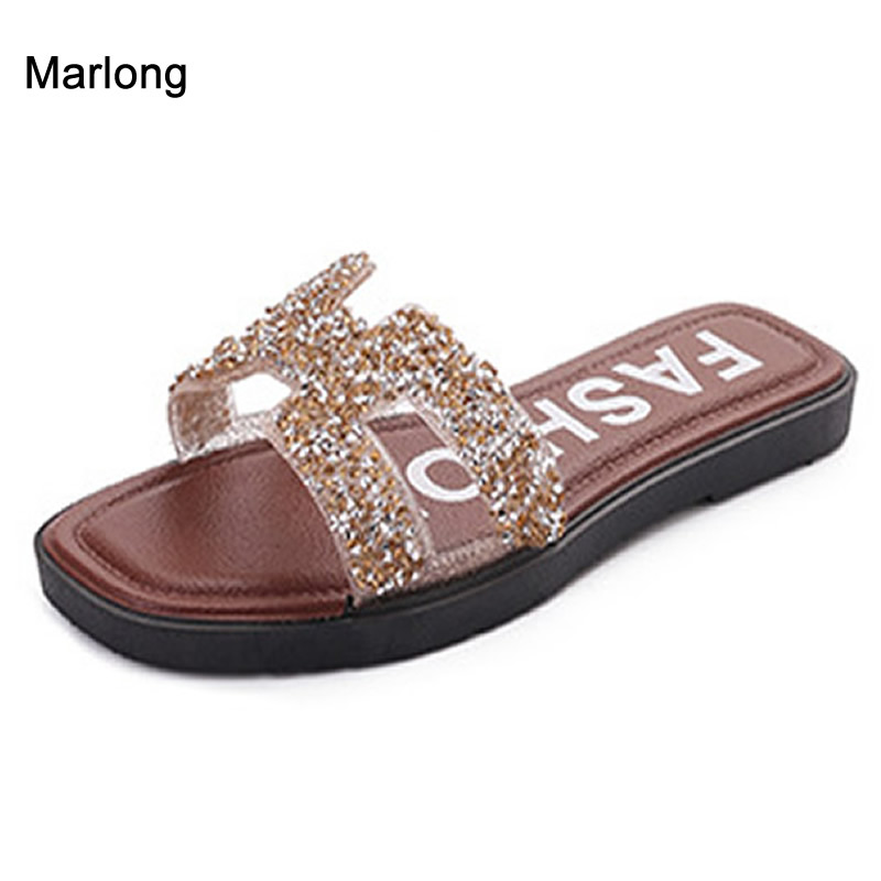 Marlong Women Crystal H Flat Sandals Shoes Ladies Rhinestone Party Slippers Flip Flops Shoes Mules Footwear Dames Schoenen