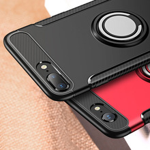 все цены на Case For iPhone 7 6 6S 8 Plus X Car Holder Stand Magnetic Bracket Finger Ring Cover For iPhone 5S 5 S SE TPU+PC Armor Case Cover онлайн