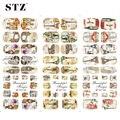 STZ 1 Hojas Retro Caliente Del Clavo Diseña Torre/Tips Nail Art de Transferencia de Agua Etiqueta Manicura Flor Del Verano Completo Wraps HOT346-348