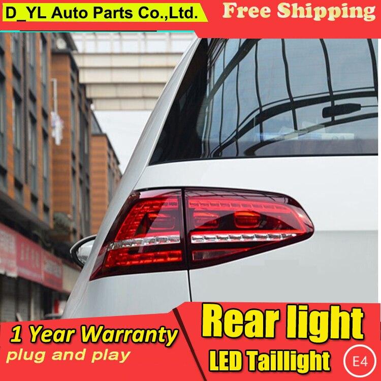 D_YL Car Styling for VW Golf 7 Taillights 2013-2014 Golf7 MK7 LED Tail Lamp Rear Lamp DRL+Brake+Park+Signal led light