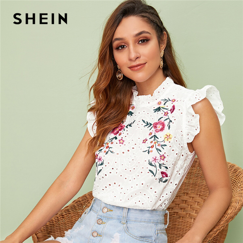 SHEIN Ruffle Trim Embroidered Detail Schiffy Top 2019 White Stand Collar Summer Button Boho Butterfly Sleeve Blouses