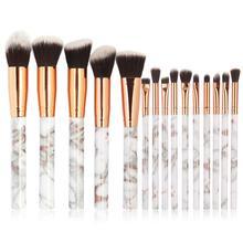 Multifunctional 15pcs Marbling Makeup Brushes Set Eyeshadow Eyeliner Concealer Brush Mini Make Up Tool Kit