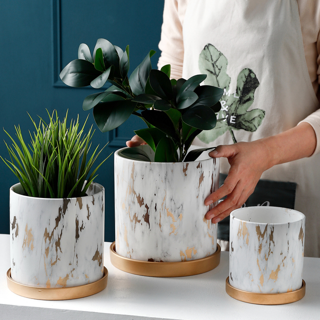 Nordic Golden Marble Pattern Succulents Pot Plant Pot with Tray Ceramic Plant Pots Home Office Christmas New Year Decoration 2