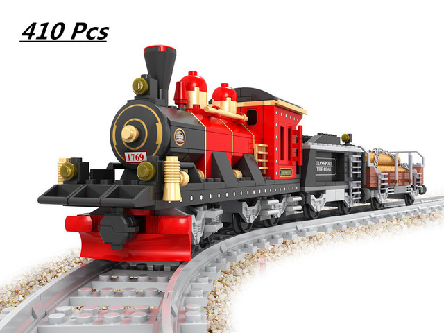 Model building kits compatible with lego city train rail 009 3D blocks Educational model building toys hobbies for children