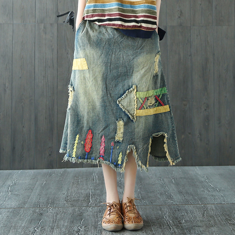 2018 new cotton and linen spring and autumn ankle-length slim cloth patchwork vintage female denim skirt bust skirt