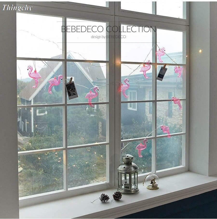 10 светодиодный s гирляндой Фламинго декоративные светодиодный строка ночник для девочек комната фон домашние открытый вечерние украшения
